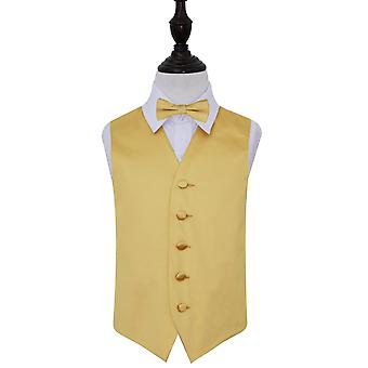 Boy's Gold Plain Satin Wedding Waistcoat & Bow Tie Set