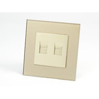I LumoS AS Luxury Gold Crystal Glass Single 2 X Telephone Socket