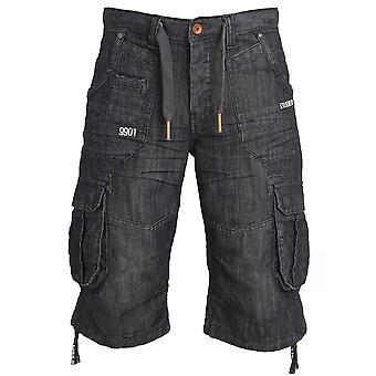 ETO Jeans Mens Designer Darkwash Cargo Combat Shorts in Denim