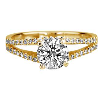 1.66 Carat E SI2 Diamond Engagement Ring 14K Yellow Gold Solitaire w Accents Micro Pave Split Shank