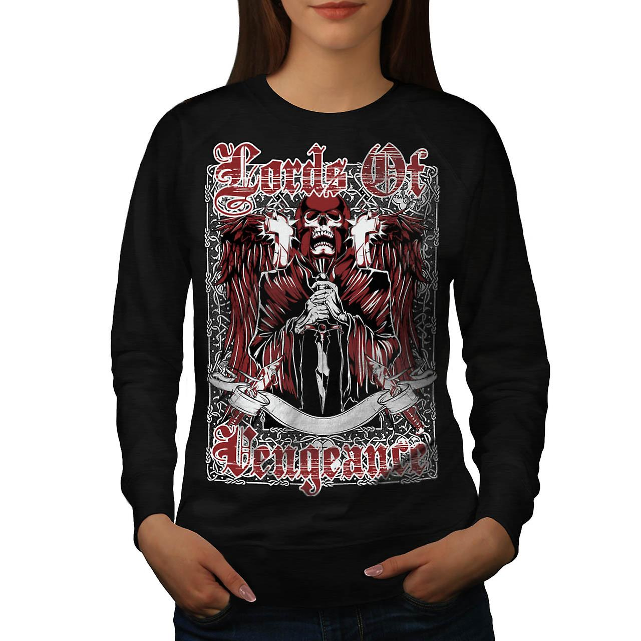 Lords Of Vengeance Monster Skull Women Black Sweatshirt | Wellcoda