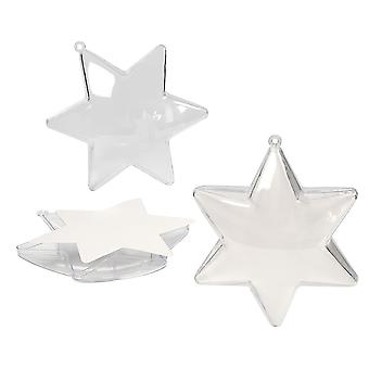 5 Acrylic 100mm Star Shaped Two Part Plastic Fillable Baubles for Christmas