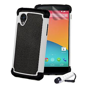 Shock proof case + stylus for Google Nexus 5 (2013) - White