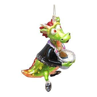 Finurlig Gentleman Dinosaur Christmas Holiday Ornament December diamanter