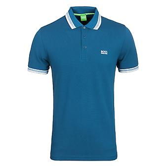 BOSS Green Paddy Deep Blue Track Tipped Pique Polo Shirt