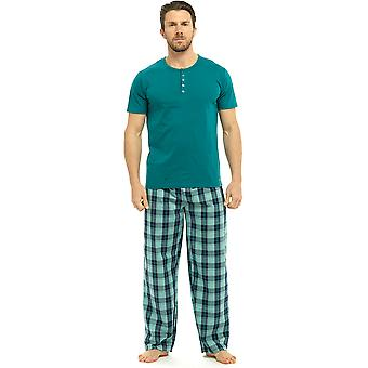 Mens Wolf & Harte Cotton Short Sleeve Top And Printed Trouser Pyjama Lounge Wear