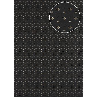 Baroque wallpaper Atlas PRI-5048-1 non-woven wallpaper smooth with ornaments and metal accents anthracite umbra grey perl gold dark grey 5.33 m2