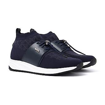 Karl Lagerfeld Navy Knit & Leather Runner Trainers