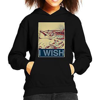 I Wish Fishing Shepherd Fairey Style Kid's Hooded Sweatshirt