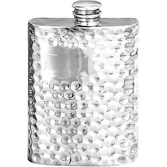David Van Hagen 4oz Hammered Pewter Hip Flask - Silver
