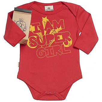 Spoilt Rotten I Am Super Girl Organic Babygrow In Gift Milk Carton