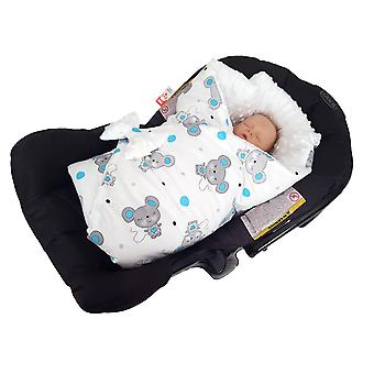 BlueberryShop Minky Reversible for CAR SEAT Swaddle Wrap Blanket Sleeping Bag for Newborn, baby shower GIFT