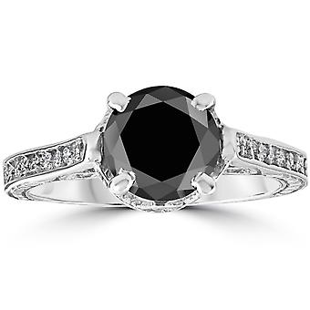 2 1 / 3ct Black & White do diamante Vintage anel de noivado 14K White Gold