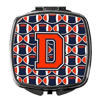 Letter D Football Orange, Blue and white Compact Mirror
