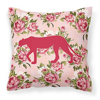 Leopard Shabby Chic Pink Roses   Fabric Decorative Pillow