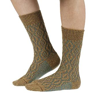 Tatton warm women's wool boot socks in mustard | By Scott-Nichol