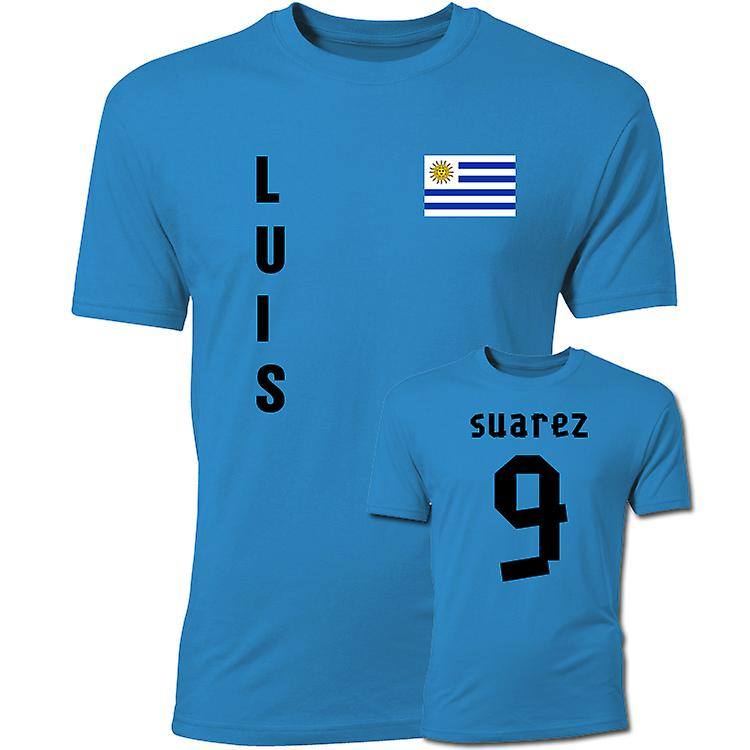 Luis Suarez Uruguay-Flaggen-T-Shirt (blau)