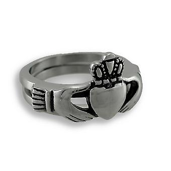 Stainless Steel Hinged Double-Band Claddagh Ring Size 8