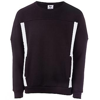 Mens Just Hype Side Crew Sweat In Black- Ribbed Cuffs, Collar And Hem- Crew