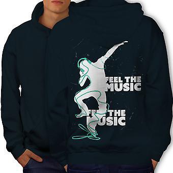 Club Dj Song Dance Music Men NavyHoodie Back | Wellcoda