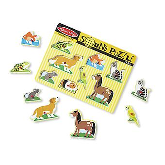 Melissa & Doug Pets Sound Puzzle - Wooden With Sound 8 pcs