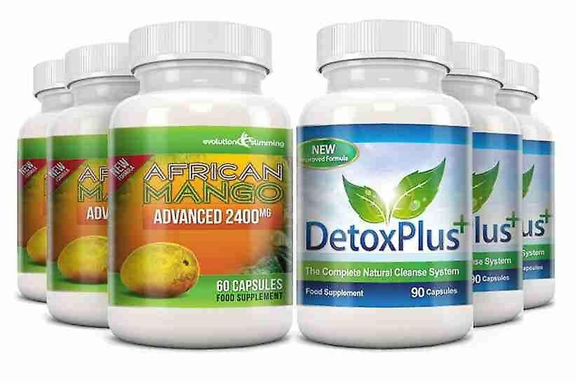 Pure African Mango 2400mg and Detox Cleanse Combo Pack - 3 Month Supply - Dietary Supplement and Cleanse - Evolution Slimming