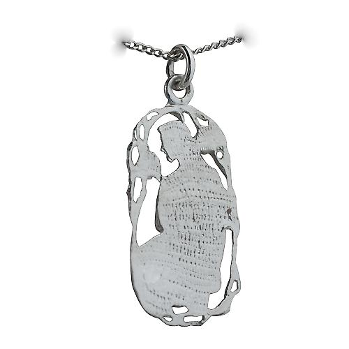 Silver 33x17mm Taurus Zodiac Pendant with a Curb chain