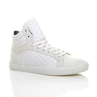 Ajvani mens flat lace up quilted casual hi high top ankle boots trainers sneakers