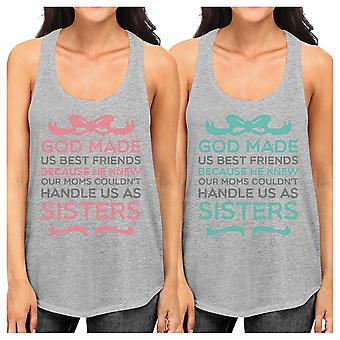 God Made Us Best Friend Gift Shirts Womens Grey Funny Tank Tops