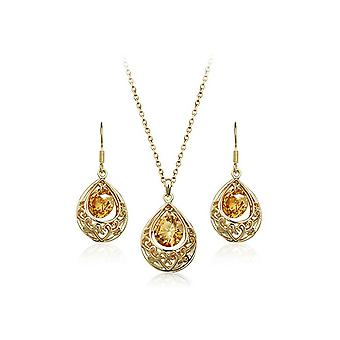 Womens Gold And Champagne Hollow Teardrop Jewellery Set Earrings And Necklace