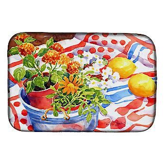 Carolines Treasures  6058DDM Flowers with a side of lemons Dish Drying Mat