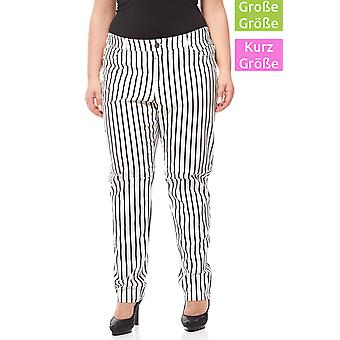 sheego pants women's stretch pants plus size short size white striated