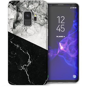 Samsung Galaxy S9 tweetonige marmeren TPU Gel Case - zwart