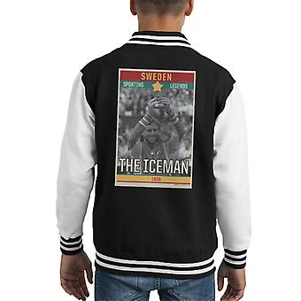 Sporting Legends Poster Sweden Bjorn Borg Tennis The Iceman 1956 Kid's Varsity Jacket