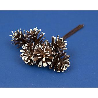 6 Small White Tipped Plastic Pine Cones on Wires for Christmas Crafts