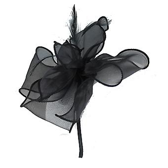 Black Fascinator on Headband/ Clip-in for Weddings, Races and Occasions-5850