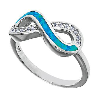 Sterling Silver Infinity Design Cubic Zirconia And Created Opal Ring