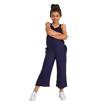 Sleeveless Cropped Jumpsuit for Girls - Blue Lightweight Playsuit Age 3-12