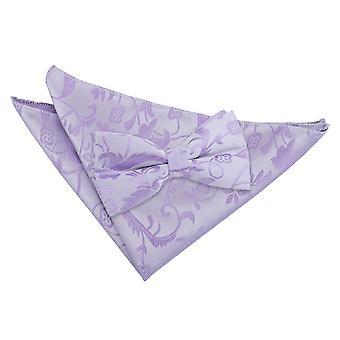 Lilac Floral Bow Tie & Pocket Square Set