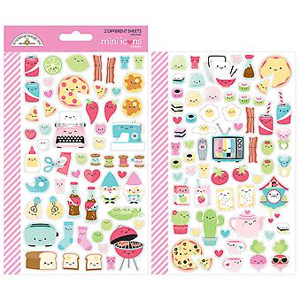 Doodlebug Mini Cardstock Stickers-So Punny Icons