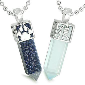Amuletter kærlighed par bedste venner Reversible ulv pote Kanji Yin Yang Opalite Goldstone halskæder