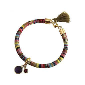 Damen - Armband - 925 Silber Vergoldet - AZTEC - Amethyst - Rubin - Violett - Rot