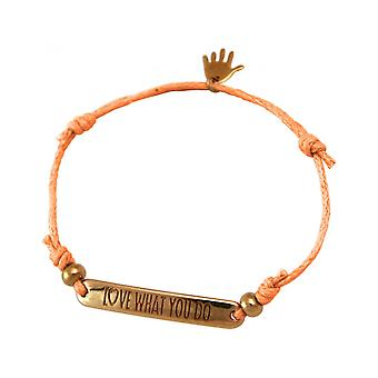 Women - bracelet - engraved - LOVE WHAT YOU DO - rose gold plated - bright coral - rose