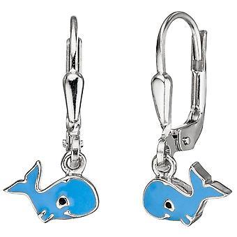 Lapset korvakorut valaiden 925 sterlinghopea sininen sininen korvakorut, lapset korvakorut
