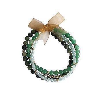 Bracelet set gemstone bracelet aquamarine Aventurine serpentine pyrite bracelet set