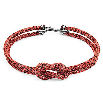 Anchor & Crew Red Noir Foyle Silver and Rope Bracelet
