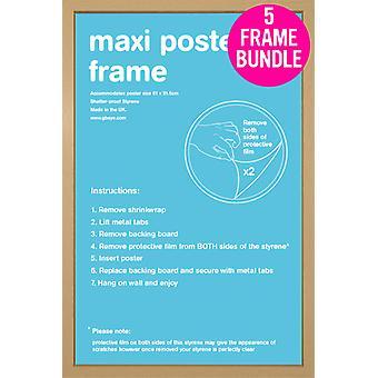 GB Posters 5 Oak Maxi Poster Frames 61x91.5cm Bundle