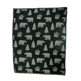 Grey and White Bear Melange Ultra Soft Double Plush Fleece Throw Blanket