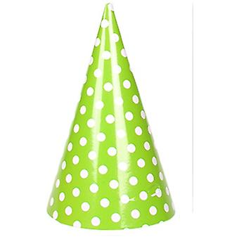 TRIXES 6PC Pack Green Party Hats with Elastic