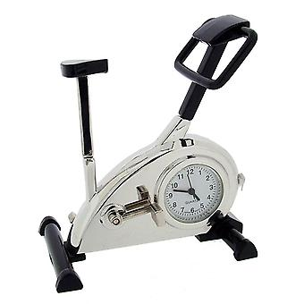 Gift Time Products Gym Exercise Bike Mini Clock - Silver/Black